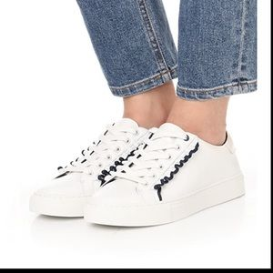 Tory Burch Sport ruffle white leather sneakers 9